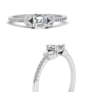 Asscher Diamond Side Stone Rings