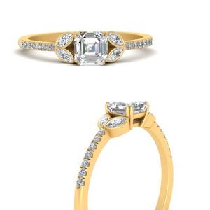 Asscher Vintage Lab Diamond Rings