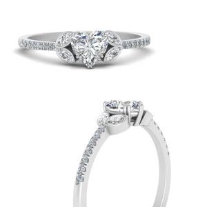 Heart Shaped Side Stone Rings