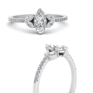 Marquise Side Stone Lab Diamond Rings