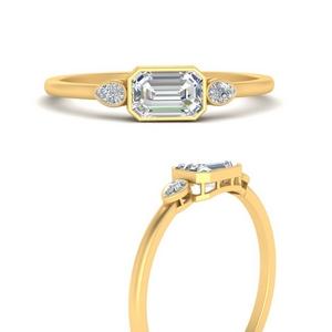 East West Emerald Cut Diamond Ring