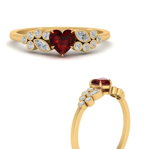 Heart Ruby Cluster Ring
