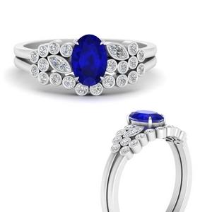 Sapphire Cluster Bezel Ring Set