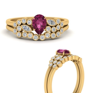 unique-pear-cluster-bezel-pink-sapphire-bridal-ring-set-in-FD9777PEGSADRPIANGLE3-NL-YG