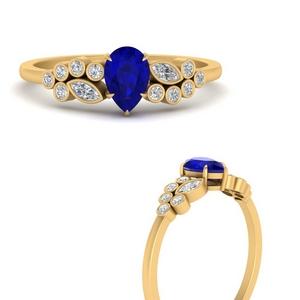 Pear Sapphire Cluster Bezel Ring