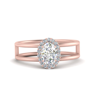 Lab Diamond Split Shank Halo Ring