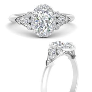 Georgian Oval Halo Diamond Ring