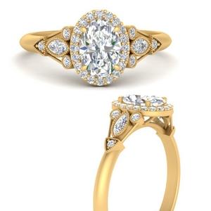 Moissanite Oval Halo Diamond Ring