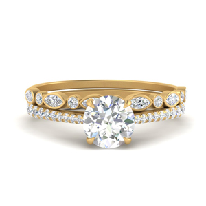 Cathedral Ring With Thin Stack Band