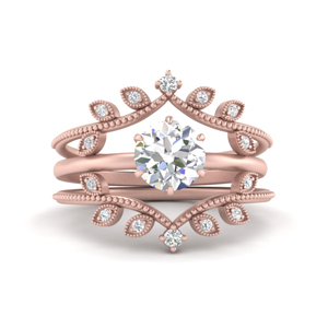 Solitaire Ring With Nature Inspired Band