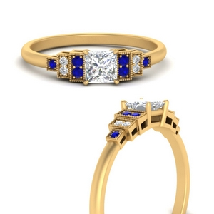 Square Side Stone Lab Diamond Rings