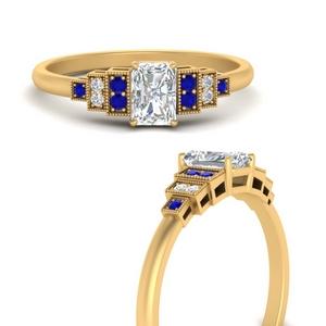 Radiant Diamond Side Stone Rings