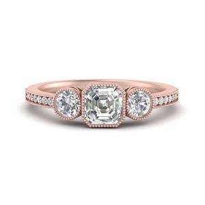 3 Stone Asscher Engagement Rings