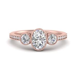 Oval 3 Stone Lab Diamond Rings