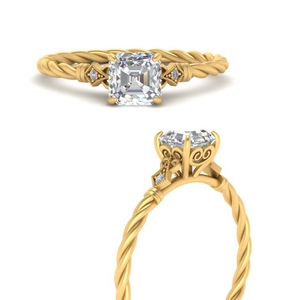 Delicate Rope 3 Stone Ring