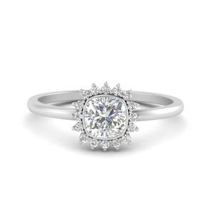 Cushion Lab Diamond Bezel Halo Ring