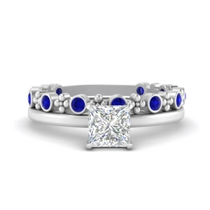 Princess Solitaire Ring With Stacking Band