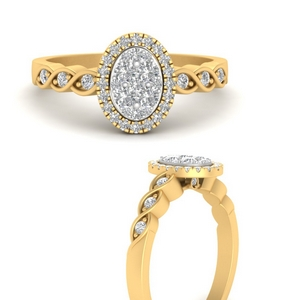 Oval Cluster Halo Twisted Ring