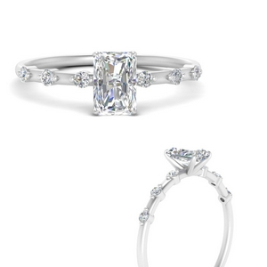 Thin Radiant Diamond Engagement Ring