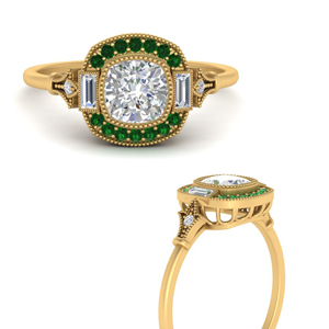 Art Deco Halo Emerald Ring