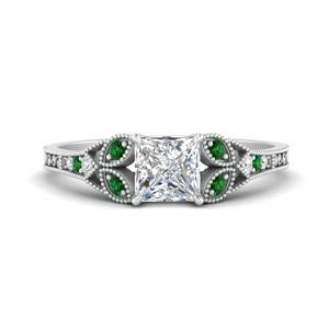 Split Band Antique Emerald Ring