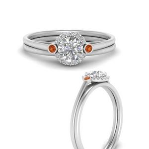 round-delicate-halo-diamond-wedding-set-with-orange-sapphire-in-FD9820ROGSAORANGLE3-NL-WG
