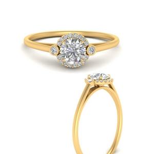 Lab Diamond Halo Bezel Pave Ring