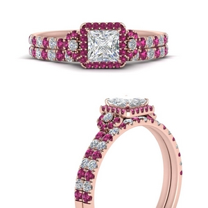 delicate-princess-cut-halo-engagement-ring-with-pink-sapphire-matching-band-in-FD9821PRGSADRPIANGLE3-NL-RG