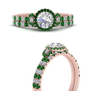delicate-round-cut-halo-engagement-ring-with-emerald-matching-band-in-FD9821ROGEMGRANGLE3-NL-RG