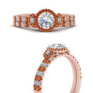 delicate-round-cut-halo-engagement-ring-with-orange-sapphire-matching-band-in-FD9821ROGSAORANGLE3-NL-RG