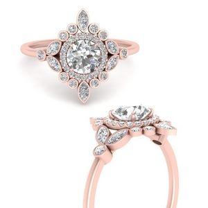 Moissanite Halo Floral Ring