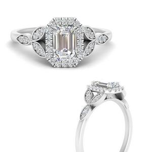 Emerald Cut Halo Lab Diamond Rings