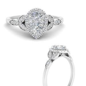 Lab Diamond Leaves Halo Ring