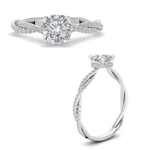 Twisted Under Halo Pave Ring
