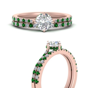 compass-point-under-halo-diamond-bridal-ring-set-with-emerald-in-FD9833ROGEMGRANGLE3-NL-RG
