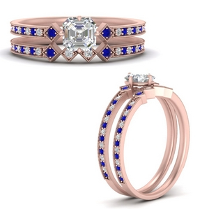 east-west-pave-asscher-diamond-wedding-ring-set-with-sapphire-in-FD9843ASGSABLANGLE3-NL-RG