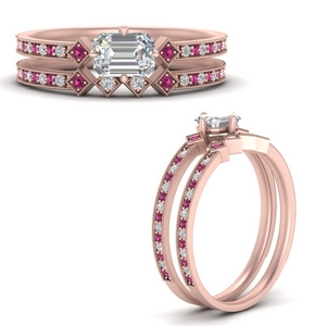 east-west-pave-emerald-cut-diamond-wedding-ring-set-with-pink-sapphire-in-FD9843EMGSADRPIANGLE3-NL-RG