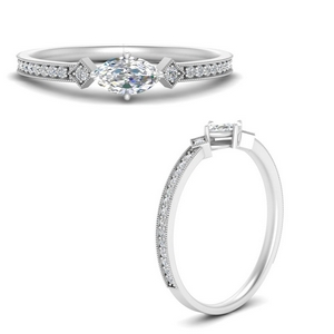 East West Delicate Diamond Ring