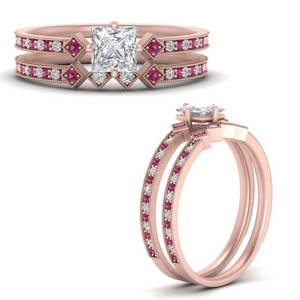 east-west-pave-princess-cut-diamond-wedding-ring-set-with-pink-sapphire-in-FD9843PRGSADRPIANGLE3-NL-RG