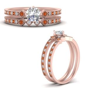 east-west-pave-round-diamond-wedding-ring-set-with-orange-sapphire-in-FD9843ROGSAORANGLE3-NL-RG