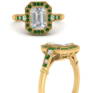 Elongated Vintage Emerald Ring