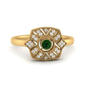 Emerald Edwardian Halo Ring