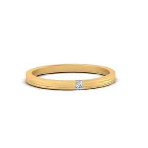Thin Princess Cut Mens Band Ring