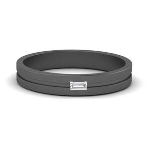 Grooved Mens Baguette Ring
