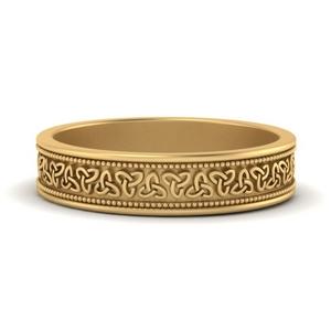 Celtic Engraved Mens Gold Band