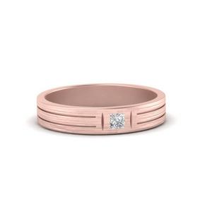 Single Princess Cut Inlay Mens Ring