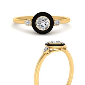 round-enamel-3-stone-diamond-engagement-ring-in-FD9874RORANGLE3-NL-YG