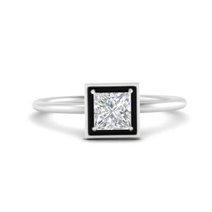 Solitaire Enamel Diamond Ring