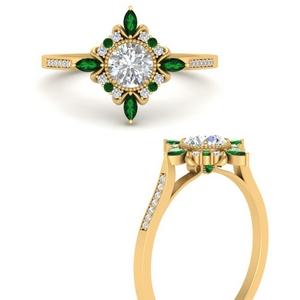 Antique Milgrain Emerald Ring