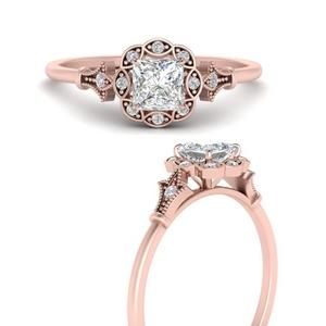 Antique Halo Delicate Diamond Ring